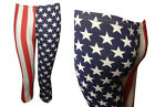 NEW RED WHITE BLUE USA AMERICAN FLAG PRINT CROPPED LEGGINGS SIZE 8-16