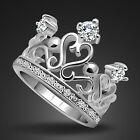 Stunning Genuine Solid Sterling Silver CZ Crown Ring Size 6 7 8 9 10 R001