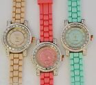NEW GENEVA PLATINUM  BAGUETTE CRYSTALS ROMAN NUMBERS SILICONE WATCH--2088