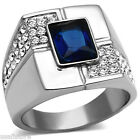 Mens Rectangle Shape Montana Blue Stone Silver Stainless Steel Ring