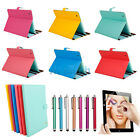 For Apple New iPad 4th 4 3rd 3 2nd 2 Stand Leather Case Cover w/ Stylus Film HK