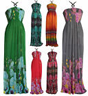 Long Floral Pattern Print Bead Halterneck Summer Maxi Evening Dress UK 10-24