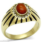 Mens Siam Red Oval Agate Gold EP Stainless Steel Ring