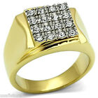 Mens Modern Shape Crystal St. Two Tone Gold Plated Stainless Steel Ring