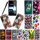 FOR SONY XPERIA T LT30i LT30P STYLISH PRINTED HARD SHELL SKIN CASE COVER+STYLUS