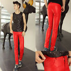 Punk Style Mens Red Faux Leather Pencil Pants Slim Pants Skinny Pants