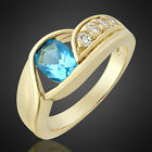 SALE! GIFT NEW FASHION JEWELRY OVAL CUT 18K GOLD PLATED LADIES Ring Size 6/7/8