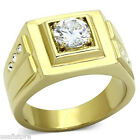 Mens 2.3ct Round Cut Clear CZ Stone Gold Plated Stainless Steel Ring