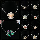 Mother of pearl MOP Genuine pearl Abalone Shell flower pendant fashion necklace