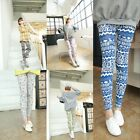 Womens Punk Retro Rose Flower Print Leggings Tights Pants Stretchy Thin
