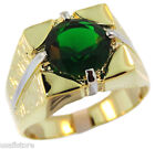 Mens 6.40ct Emerald Green Two Tone 18kt Gold Plated Ring
