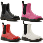 New Ladies Zip Up Elasticated Gusset Patent Flat Punk Ankle Boots Size UK 3-8