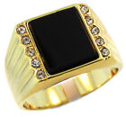 Mens Genuine Jet Black Onyx Stone with CZ 18Kt Gold EP Ring
