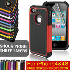 Hybrid Robot Defender Rugged Rubber Armor Silicone Proof Case for iPhone 4/4S