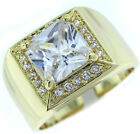 Mens 2.71 Carat Princess Cut Clear CZ Stone 18kt Gold Plated Ring
