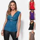KRISP Womens Cross Over Wrap Party V Neck Top Ladies Evening Stretch Tank Tunic