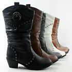 Womens Cowboy Boots Western Shoes Cowgirl Slouch Roper Studded Buckle Stud Heels
