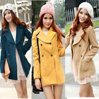 Women Lady Slim Fit Trench Double Breasted Pea Coat Outwear Jacket Fashion New