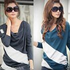 Women's Stylish Casual Batwing Dolman Loose Shirt Jumper Tops Long Sleeve