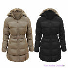 LADIES WOMENS PUFFER QUILTED PADDED FUR HOODED BELTED WINTER COAT PARKA JACKET