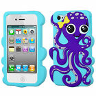 For Apple iPhone 4 4S Rubber SILICONE Skin Soft Gel Case Phone Cover Octopus