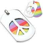 Stainless Steel Dual Dog Tag with Carved Out Peace Sign Pendant w/ Necklace