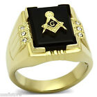 Mens Masonic On Jet Black Agate Gold Plated Stainless Steel Ring