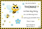 Personalised Party Invitations Bumble Bee Design Pack 8 with envelopes
