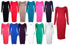 NEW PLUS SIZE SCOOP NECK LONG SLEEVE JERSEY BODYCON MIDI DRESS 16-22