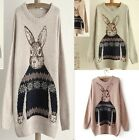 Hot Print Cute Rabbit Knitted Loose Casual Sweater Outwear Jumper Top Pullovers