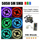 5050 5M RGB SMD LED Strip Light +44Key IR Remote Controller+Power Supply Adapter