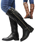 Ladies Leather Style Calf Knee High Zip Up Fur Lined Warm Women Boots Shoes Size