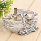 White Infinity Retro Owl Angel Wings Harry Potter Multilayer Bracelet Xmas Gift