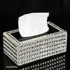 Super Bling Crystal Handmade Diamond Holder Home Decor Pu Leather Tissue Box