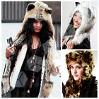 Fluffy Wild Animal Print Faux Fur Hood Chic Party Hoody Scarf Pocket Paw Ear Hat
