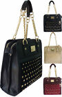 Women LYDC Designer Studded Bag Leather Style Suede Ladies Tote Satchel Handbag