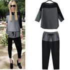 Europe Women's Sexy Chiffon Crew Neck 3/4 Sleeve Loose Casual T-shirt and Pants