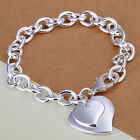 925Sterling Silver Jewelry Double Heart Thick Chain Necklace Braceket Set N252
