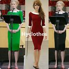 Womens Stretch Pinup Rockabilly Colorblock Bodycon Wiggle Pencil Dress D450