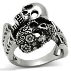 Mens Day Of The Dead Double Skull Silver Stainless Steel Ring