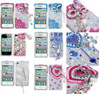 for iPhone 4 4G 4S - 3D Premium Diamond Bling Rhinestone Pearl Hard Case Cover