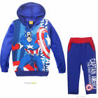 Cool Kids Boys Girls The Avengers Captain America Zipper Hoodies Suits 2-7years