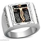 Mens Two Tone Cross Religion Silver Stainless Steel Ring