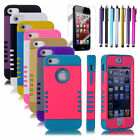 Colorful Heavy Duty Hybrid Rugged Hard Case Cover + Stylus For iPhone 5C 5S 5th