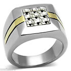 Mens Dual Tone Nine Square Crystal Silver Stainless Steel Ring