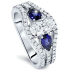 2.65CT Oval Diamond Pear Blue Sapphire 3-Stone Engagement Ring 14K White Gold