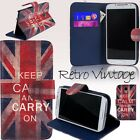 Retro Vintage keep calm and carry on Flip Wallet Leather Stand Case Card Slot