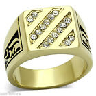 Mens Four Row Crystal Gold Plated Stainless Steel Ring