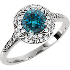 1.15CT Blue Diamond Sculptural (3/4CT Center) Engagement Ring 14K White Gold