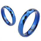 Tungsten Blue Multi-Faceted Prism Cut Wedding Band Ring Size 4-12